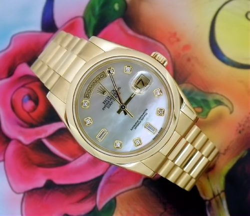 Mint 18ct gold MoP diamond Rolex Day-Date box & papers