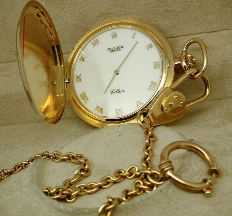 18ct gold rolex cellini pocket chain box docs