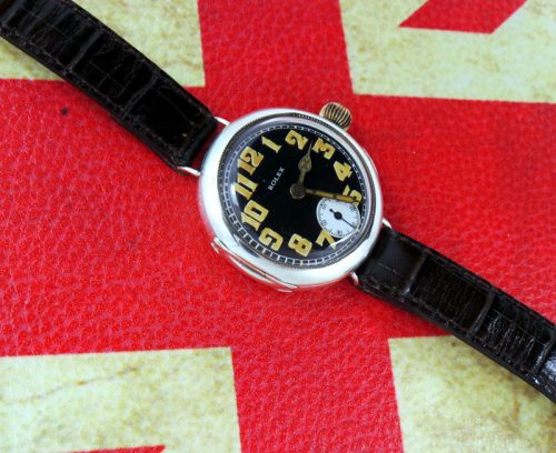 Mint 1915 Silver Hallmarked Rolex Officers trench watch