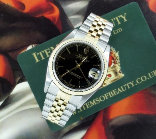 Ladies Rolex Datejust mid-size steel & gold with paper