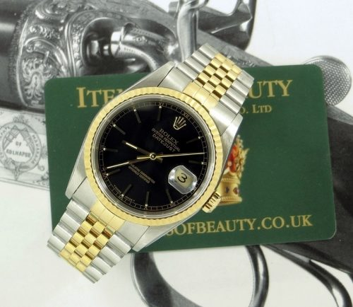 Lovely steel & gold Rolex Datejust 16233 with paper