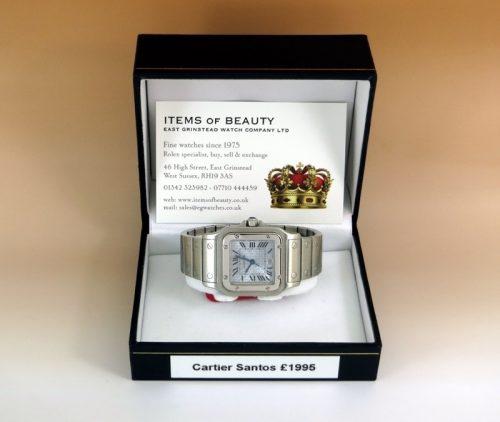 Mint ladies steel mid-size Cartier Santos special dial