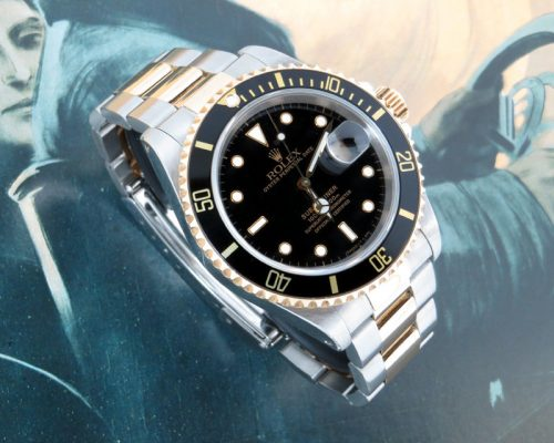Black kit steel & gold Rolex Submariner with paper