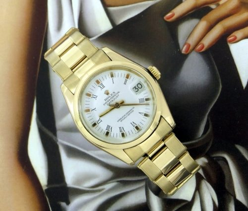 Ladies mid-size 18ct gold Rolex Datejust Roman dial