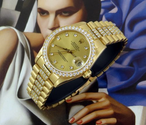 Crown collection ladies 18ct Rolex Datejust with paper