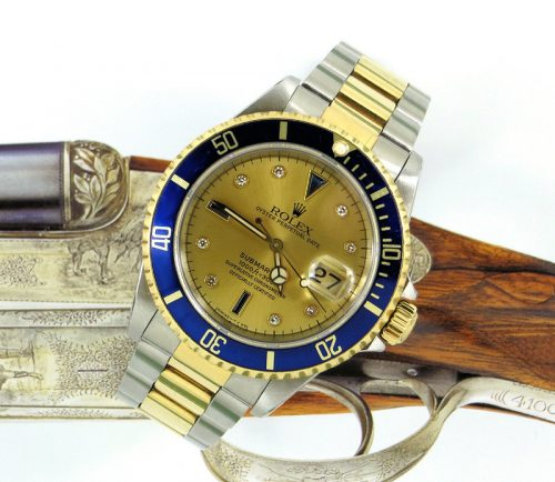 Steel & gold Rolex Submariner serti dial with paper