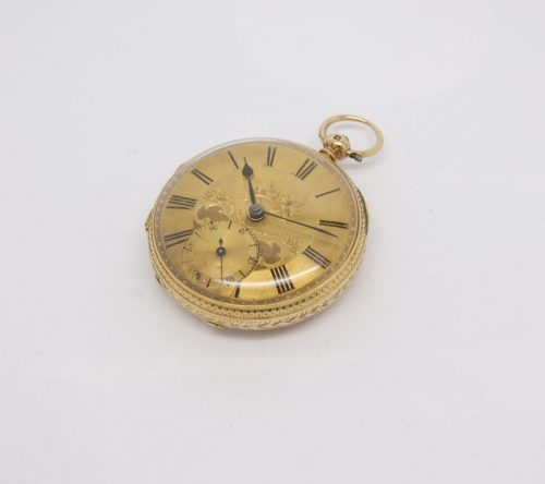 Ornate Gents solid 18ct gold pocket watch