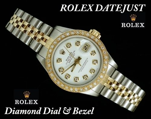 White dial steel & gold diamond ladies Rolex Datejust
