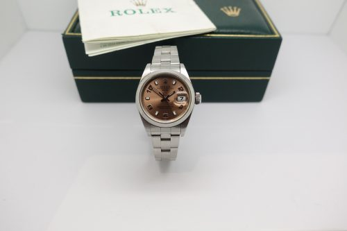 Ladies stainless steel Rolex oyster perpetual Date with box and papers