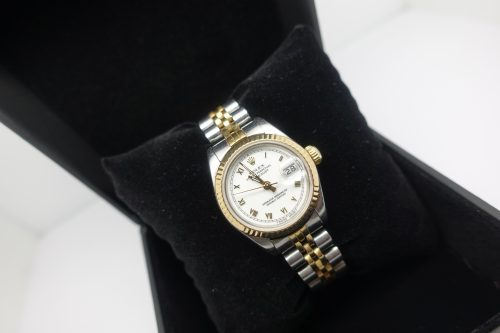 Ladies steel & gold Rolex Datejust with White Roman dial