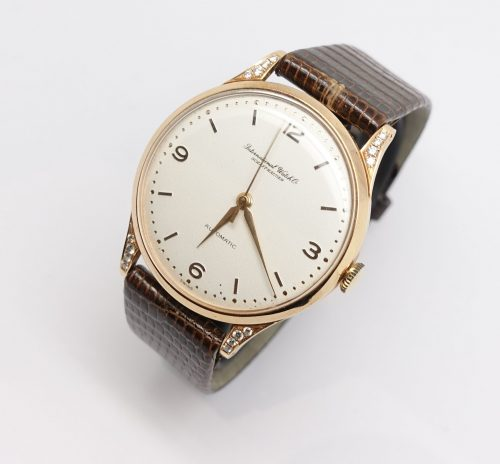 Vintage gents 18ct rose gold IWC with diamond shoulders