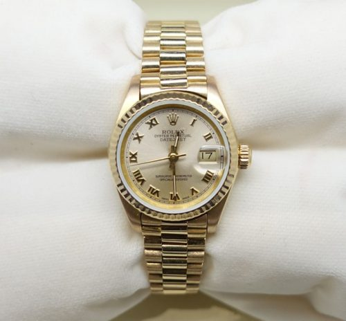 Ladies 18ct gold Rolex Datejust with Roman dial
