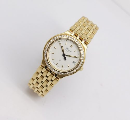 Ladies 18ct yellow gold and diamond chopard watch