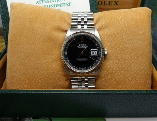 Gents stainless Steel Rolex Datejust With Black Dial
