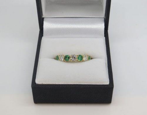 Emerald and Diamond Half Eternity