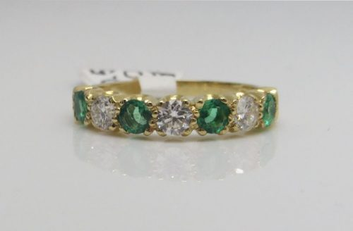 Emerald and Diamond Half Eternity