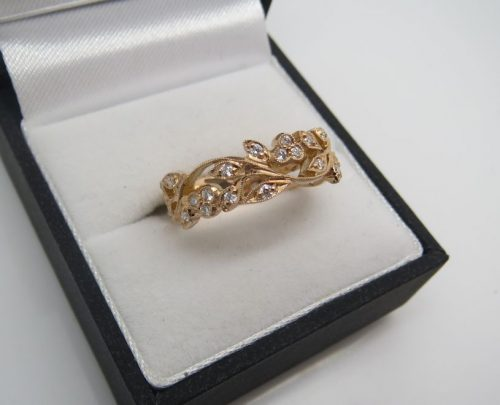 Rose Gold and Diamond Filigree band