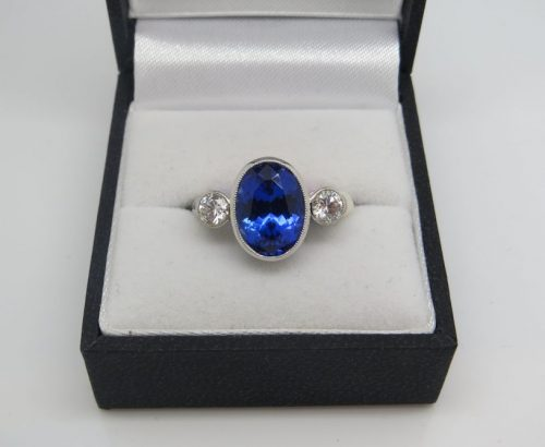 Superb Natural Tanzanite and Diamond Ring