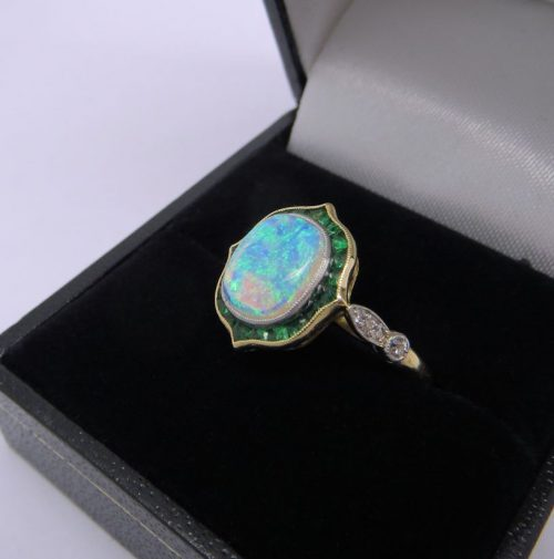 Unusual Opal and Emerald Ring
