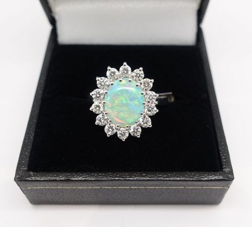 Ladies 18ct White Gold Diamond and Opal ring