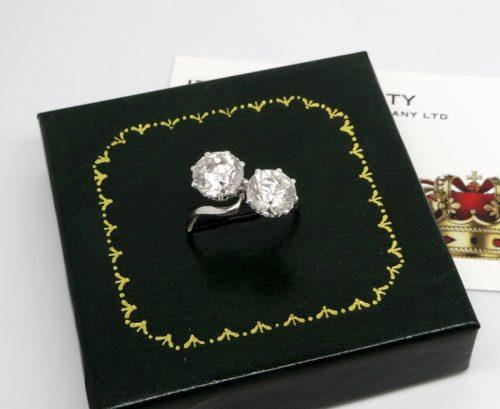 5ct double diamond ladies 18ct white gold ring