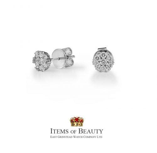 18ct gold diamond cluster ladies earrings