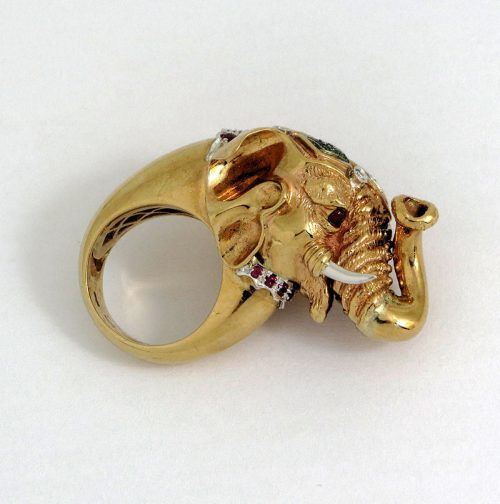 Amazing gold art gem set 9ct gold Elephant ring