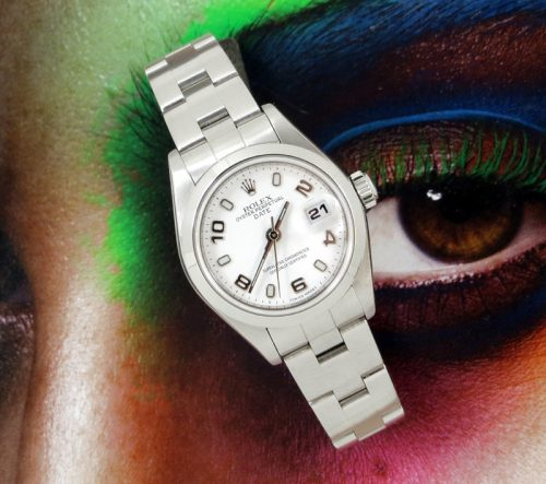 Ladies steel Rolex Oyster Perpetual white dial