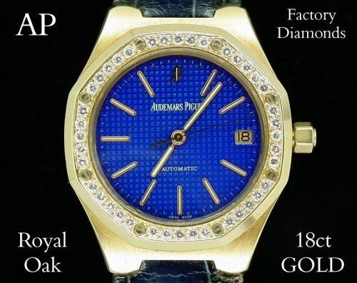 18ct Gold diamond mens Audemars Piguet Royal Oak