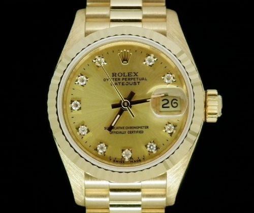 18ct Gold factory diamond Ladies Rolex Datejust