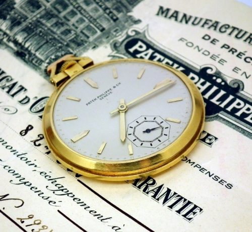 18ct gold Patek Philippe pocket watch 1942 box and paper