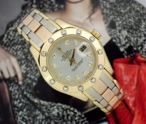 18ct Gold Ladies Tridor Rolex Pearlmaster Datejust