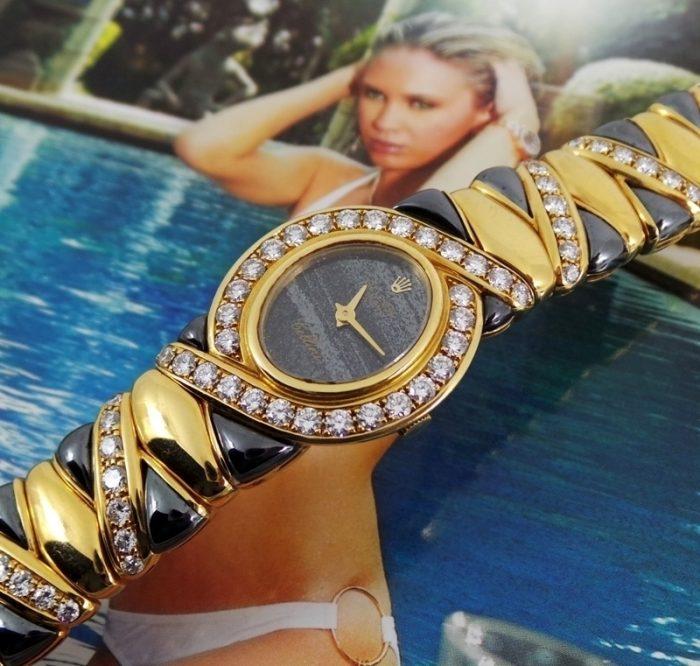 18ct gold & diamond Ladies Rolex Cellini box & papers