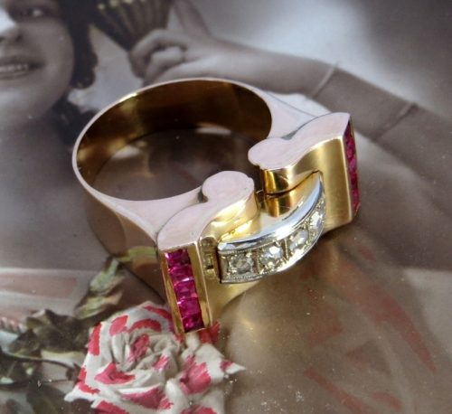 Stunning 18ct pink gold, diamond & ruby 1940's ring