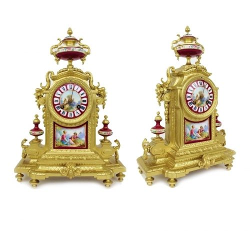 19th century French red Sevres 8 day mantle clock c1860