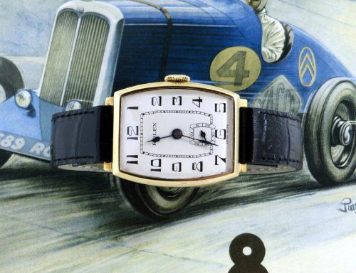 A mint 1934 9ct gold vintage tonneau shaped Rolex