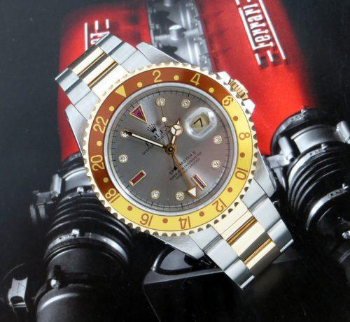 Very rare steel & gold Serti dial Rolex GMT Master II