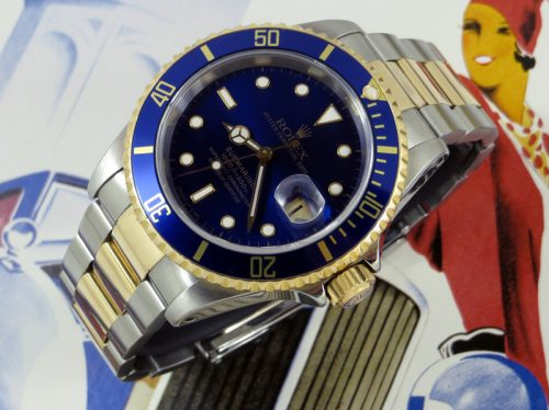 Blue Kit Steel & Gold Rolex Submariner with paper