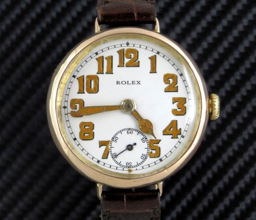 Mint 1919 London gold Rolex Officers watch