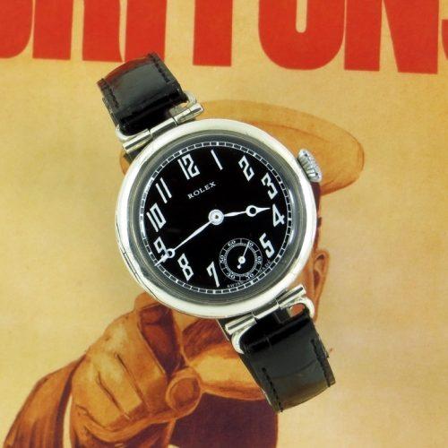 Silver vintage Rolex officers watch hallmarked 1915