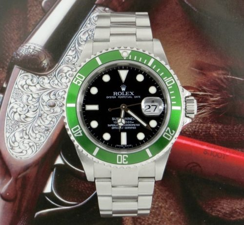 Green steel Rolex Submariner Anniversary 16610T