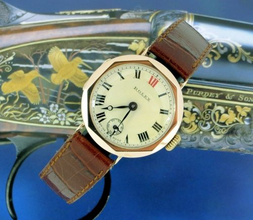 Rare 8 sided Art Deco pink gold vintage Rolex 1929