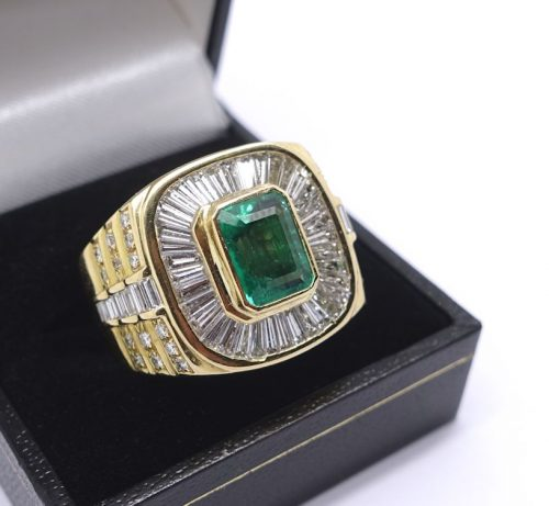 Large Gents Emerald and Diamond Ring