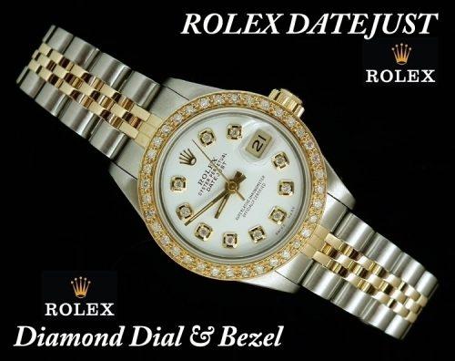 White dial steel & gold diamond ladies Rolex Datejust
