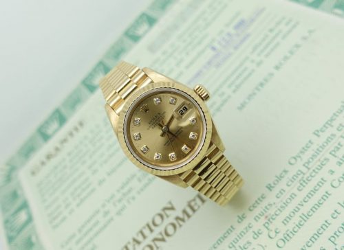 Ladies 18ct gold Rolex Datejust with factory diamond dial