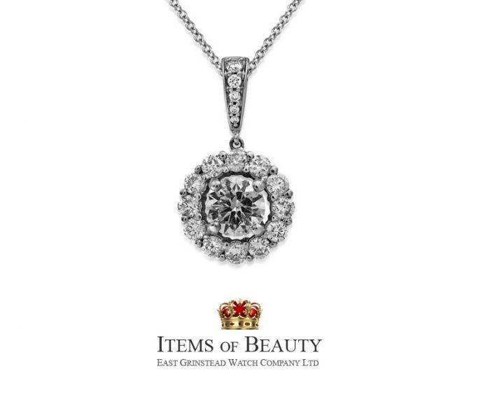 1.51ct ladies diamond cluster pendant with chain