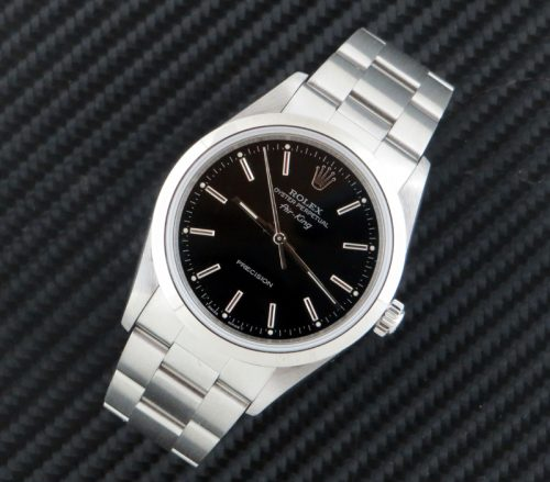 Mint steel Rolex Air King with Black dial ref 14000