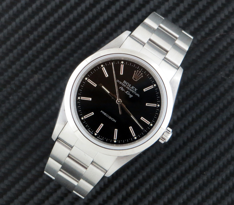 Mint steel Rolex Air King with Black dial ref 14000 , ITEMS