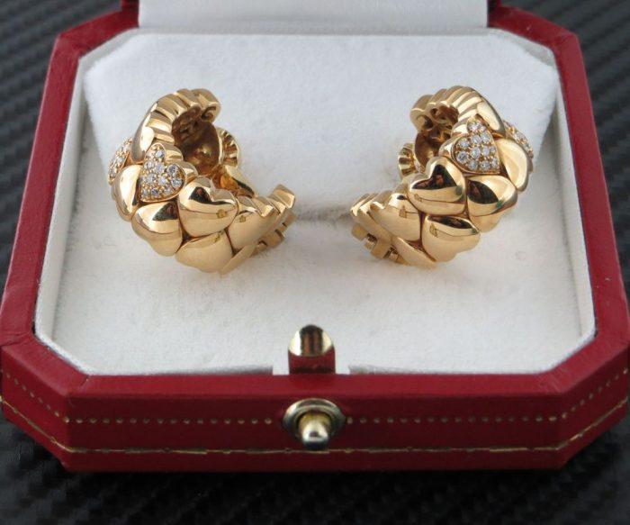 18ct Cartier Diamond Gold Heart Huggie Earrings