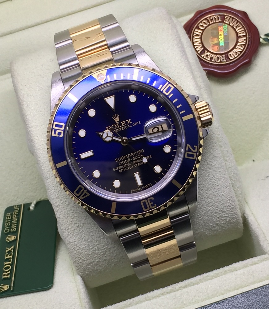 Gents Steel And 18ct Gold Rolex Submariner Blue Kit Items Of Beauty